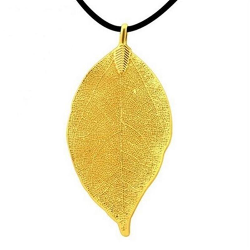 Sunshine Maxi Necklace 18k Gold Plated Leaf pendant necklace chocker women leather Rope Chain leaf Design luxury wedding jewelry(China (Mainland))