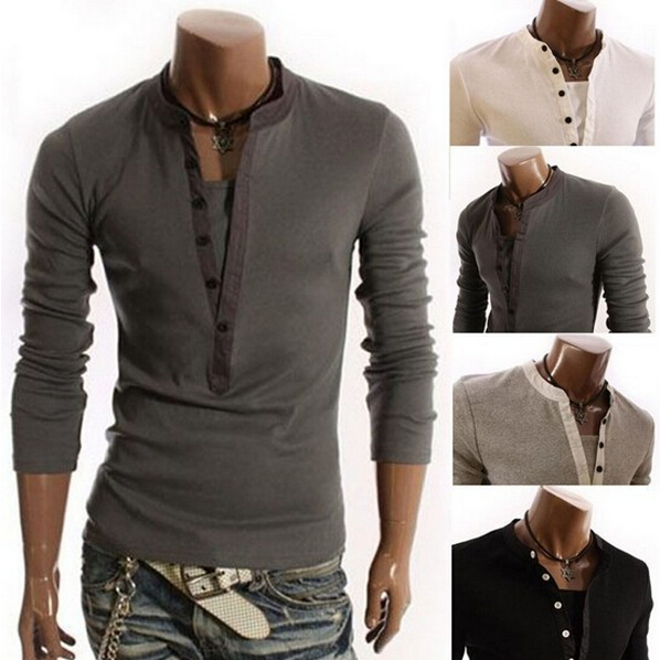 Men'S 2015 Summer New Fashion Solid Color Long-Sleeved Polo Shirt Sports, Outdoor Designer Slim Casual Men'S 4 Colors M ~ XXXL