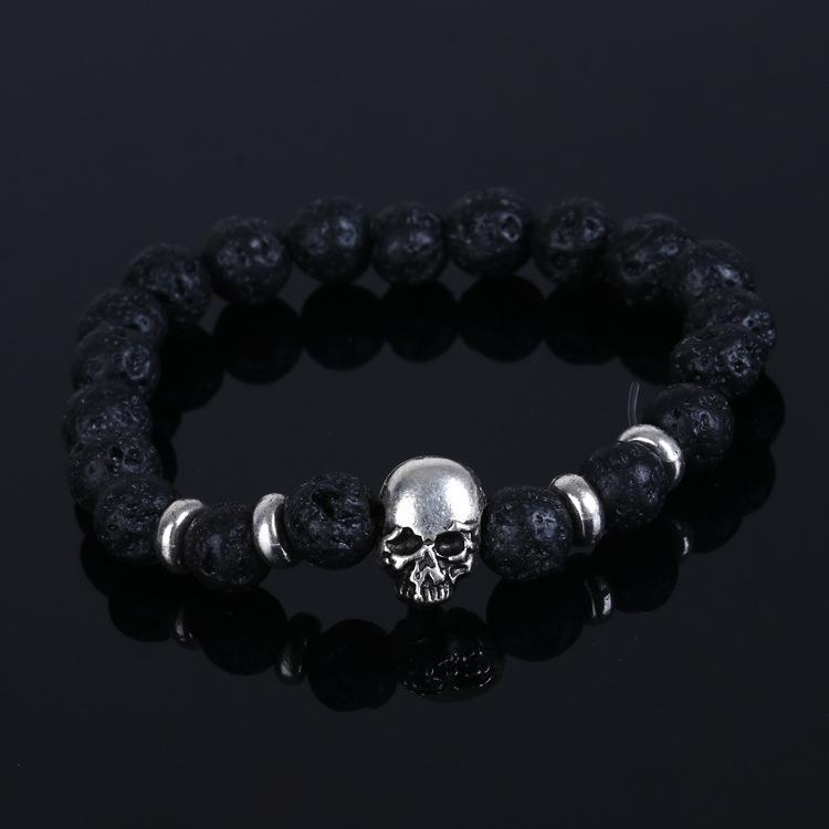 2016 Модный natural stones skull bracelet For Женщины Lava stone beads and tiger ...