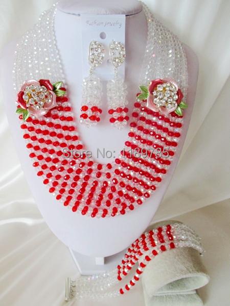 Fashion Nigerian African Wedding Beads Jewelry Set ,Crystal Necklace Bracelet Earrings Set A-5985<br><br>Aliexpress