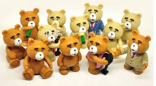 NEW Arrive 24 Pcs Ted Teddy Bear Action Figures Display Cake Topper Decor Kid Child Adult Boy Toy(China (Mainland))
