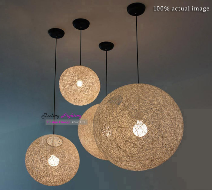 Modern twine ball Pendant Lamp hemp rope Light White,Black,Beige flax cord Suspension Pendant Lamp we have Various sizes E27(China (Mainland))