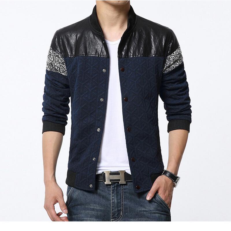 2016 Fashion Brand Men Spring Jackets Male Coat PU Leather Spliced Designer British Slim Fit Clothing Man Plus Size 4XL 5XL(China (Mainland))