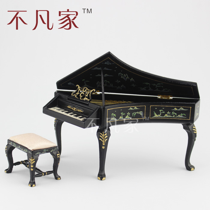 Фотография Dollhouse 1/12th miniature Musical Instruments Black Hand painted piano & Stool