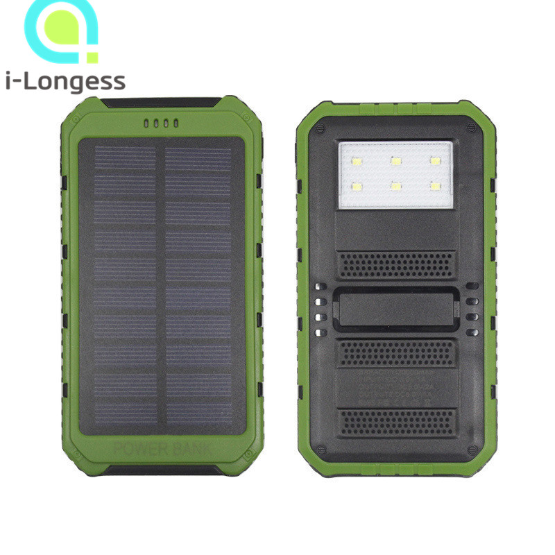 2016 brand new 8000mah Portable Waterproof Solar Power Bank Dual-USB Battery Charger travel charger for Phone with LED lamp(China (Mainland))
