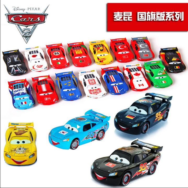 Disney Cars 2 Lightning McQueen national flag edition full 26 alloy racing toy model gift Pixar Cars 1:55(China (Mainland))