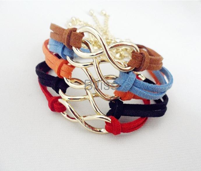 New Fashion Infinity Leather Cord Bracelet Gold Plated Chain Charm Bracelet Rope Bracelet For Women Mix 5 colors/set(China (Mainland))