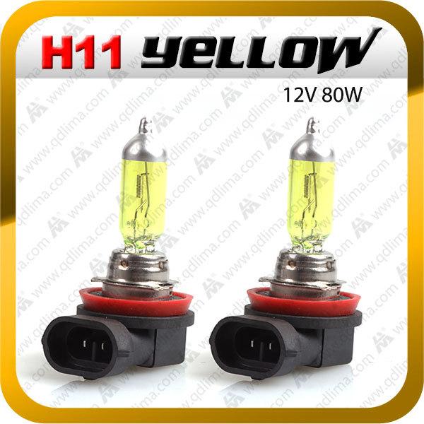 2 x Yellow h11 12V 80W halogen xenon auto Fog Light Halogen lamp for peugeot 207+ Free Shipping(China (Mainland))