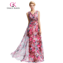 Grace Karin Floral Print Long Evening Dress 2016 Double V Neck Pattern Elegant Prom Gowns Chiffon Pleated Formal Evening Dresses(China (Mainland))