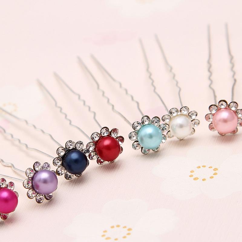 free shipping Pearl rhinestone hair pin for bride wedding U hairpin hair styling tool(China (Mainland))