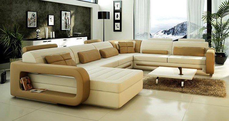 2015 lastest design u shape leather sofa living room sofa U shaped living room layout