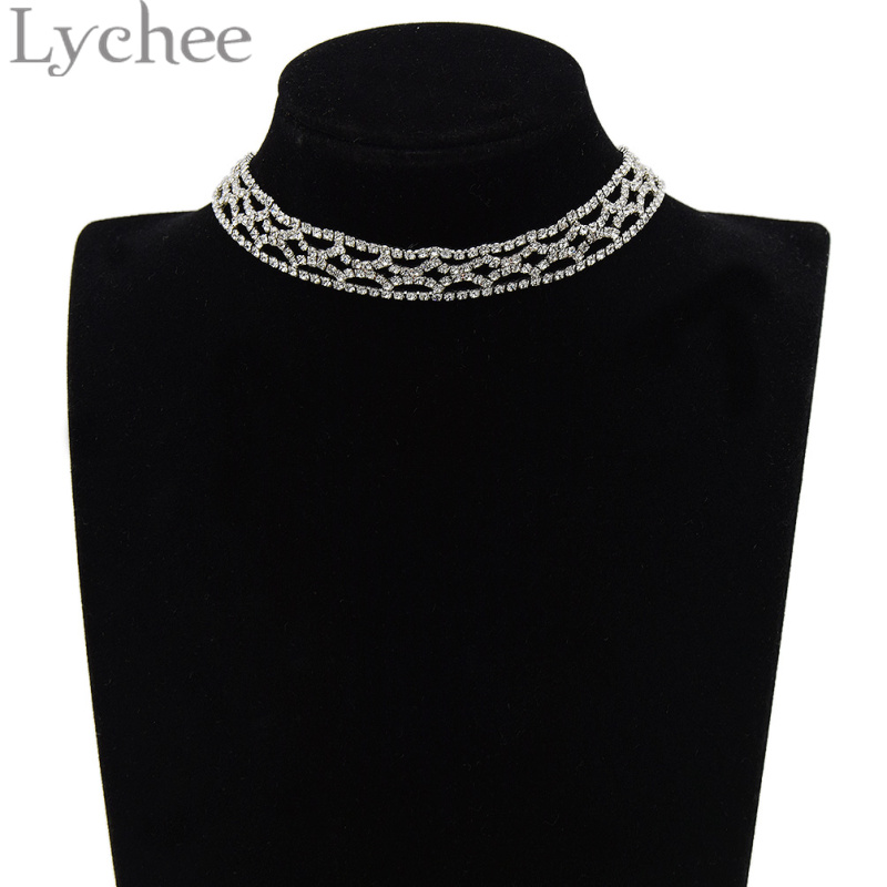 Lychee Silver Color Crystal Choker Necklace Hollow Bling Bling Rhinestone Choker Collar Bride Wedding Party Jewelry Women