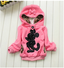 Retail 2015 Children Clothing baby girl Minnie hoodies Two Wear before and after Girl's Fashion Outerwear Coats in winter(China (Mainland))