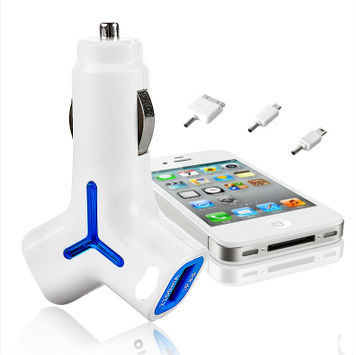 car charger for iphone/ipad/PSP/NOKIA/Samsung with retractable dual usb port car charger adapter