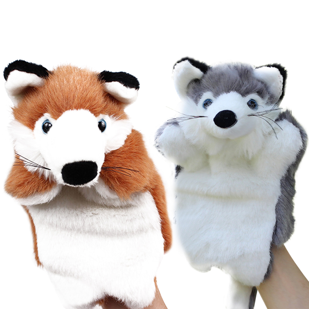 Funny Fox Hand Puppet Cartoon Plush Hand Puppets Baby Kids Doll Plush Toys Bedtime Story Telling Toy Brown/Grey(China (Mainland))