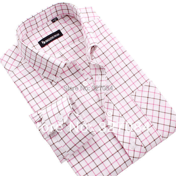 men designer dress shirt Long sleeve Casual Checked Shirts Large size xxxl 4xl NJF37 - P&R Fashion Store store