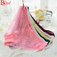 Fashion Transparent Female Lace Panty Black Pink Color Knickers Women Sexy Lace Cotton Panty Free Size Free Shipping(China (Mainland))