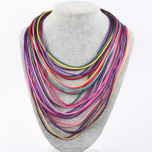 Hot Fashion Women Multicolor Necklace Multilayer Rope Bohemia Statement Jewelry Long Necklace for Women NE025
