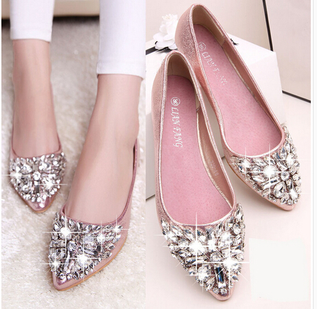2015 spring and autumn pointed toe Costly diamond flat heel sweet bow shoes single shoes women fashion women's flat shoes B393(China (Mainland))
