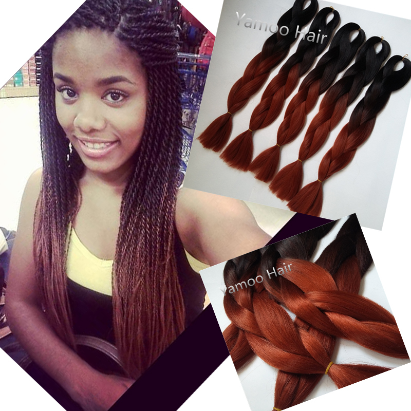 24inch brown ombre kanekalon braiding hair 5pcs/lot xpression braiding hair extension 100g/piece synthetic braiding hair ombre(China (Mainland))