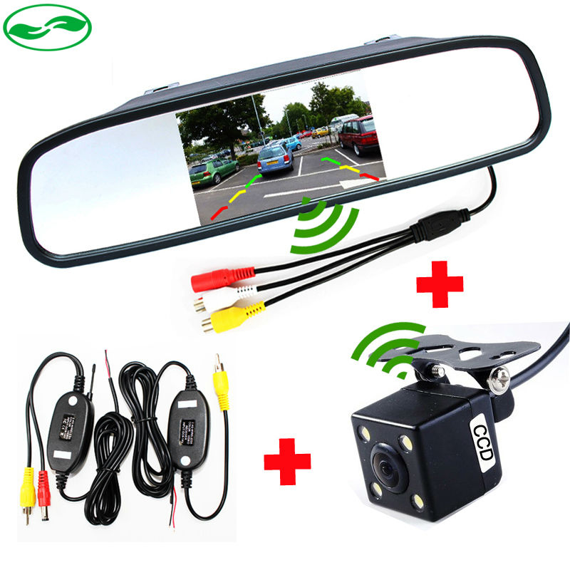 """All-in-one Wireless Parking Video Player. Wireless Transmitter Receiver Kit Car Rear View Camera With 4.3"""" Mirror Monitor(China (Mainland))"""