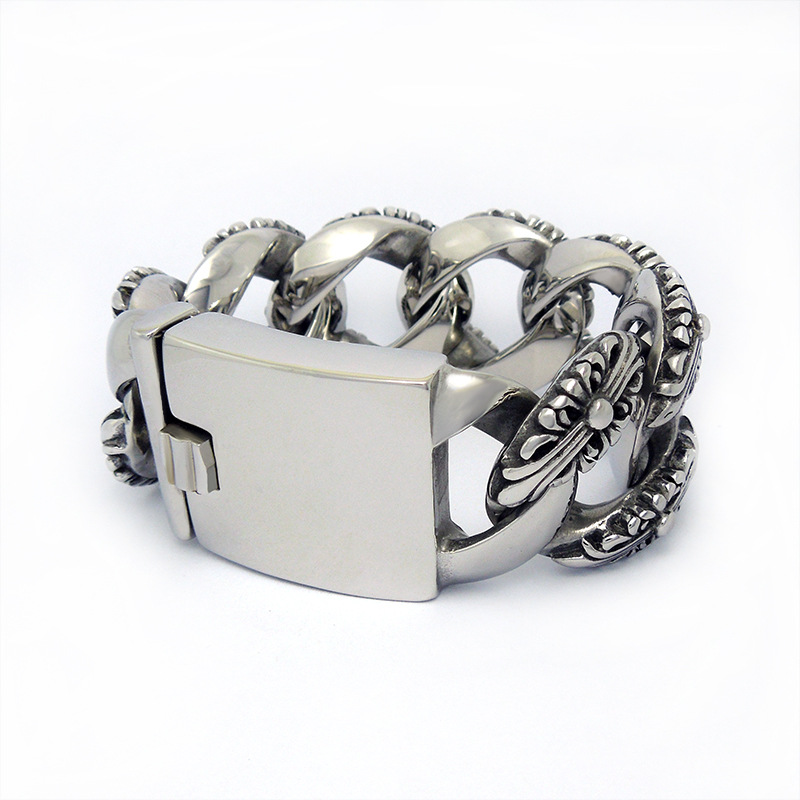 Retro Europe wide overweight double cross flower mens European style CE363 titanium bracelet<br><br>Aliexpress