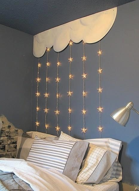 2016 bed wall decoration stars curtain string light kids