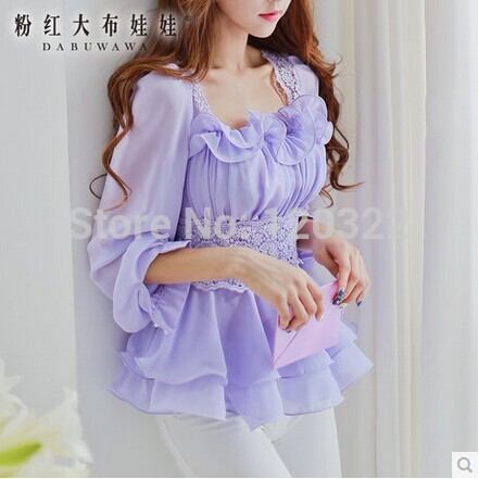 DABUWAWA Original New Fashion 2014 Brand Spring and Autumn Plus Size Lavender Slim Lace Chiffon Blouse Blusas Women Wholesale Одежда и ак�е��уары<br><br><br>Aliexpress