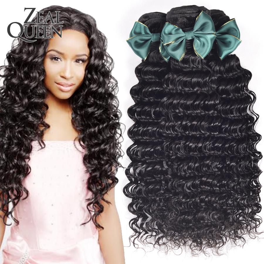 Zeal Queen Hair Products Peruvian Virgin Hair Deep Wave 3Pcs/Lot  Very Soft Peruvian Curly hair Cheap Unprocessed Hair Bundles