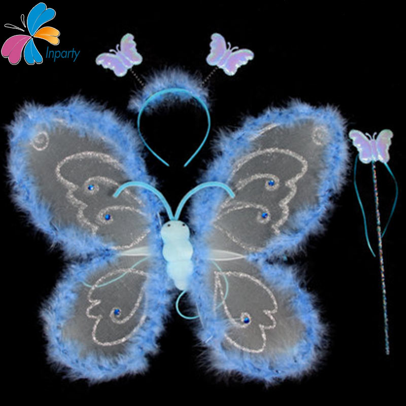 Inparty 2016 Cosplay Set Children Multicolor Performance Prop Brand Angel Fairy Feather Butterfly Halloween Costume For Kids(China (Mainland))