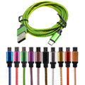 25cm 1M 2M 3M Micro USB Cable Charger Data Sync Nylon USB Cable For Android Smart