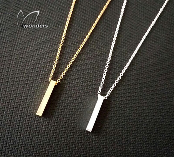 2015 jesus VERTICAL pendant Necklace BAR stainless steel acessorios 18 k gold and silver color for choice, daily wearing jewelry(China (Mainland))