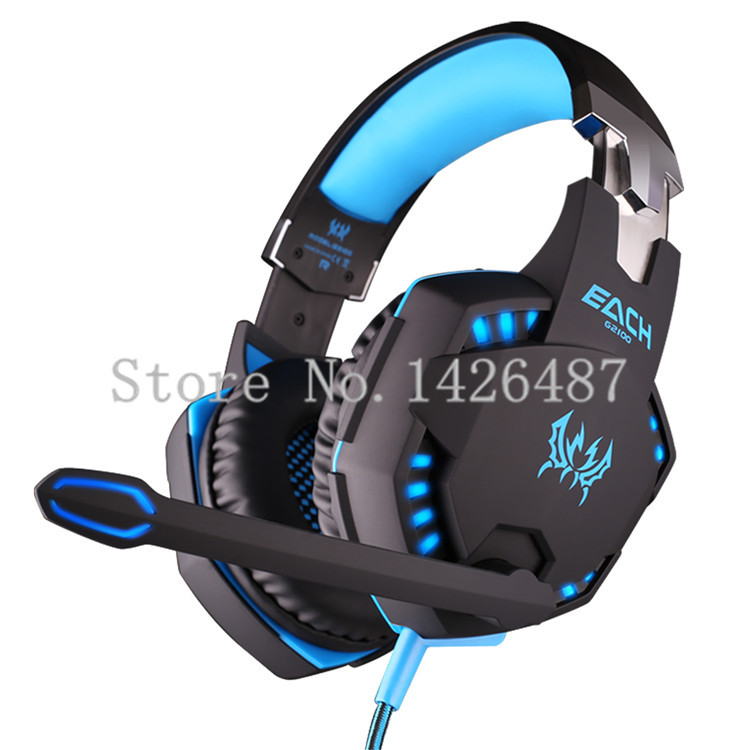 Brand PC Earphone EACH G2100 Blue Vibration Function computer Pro Gaming Headphone Headset with Microphone Stereo Bass LED Light