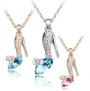High Quality Trendy Gold Silver Plated Crystal Cinderella Glass Slipper Pendant Necklace Jewelry For Women Wholesale