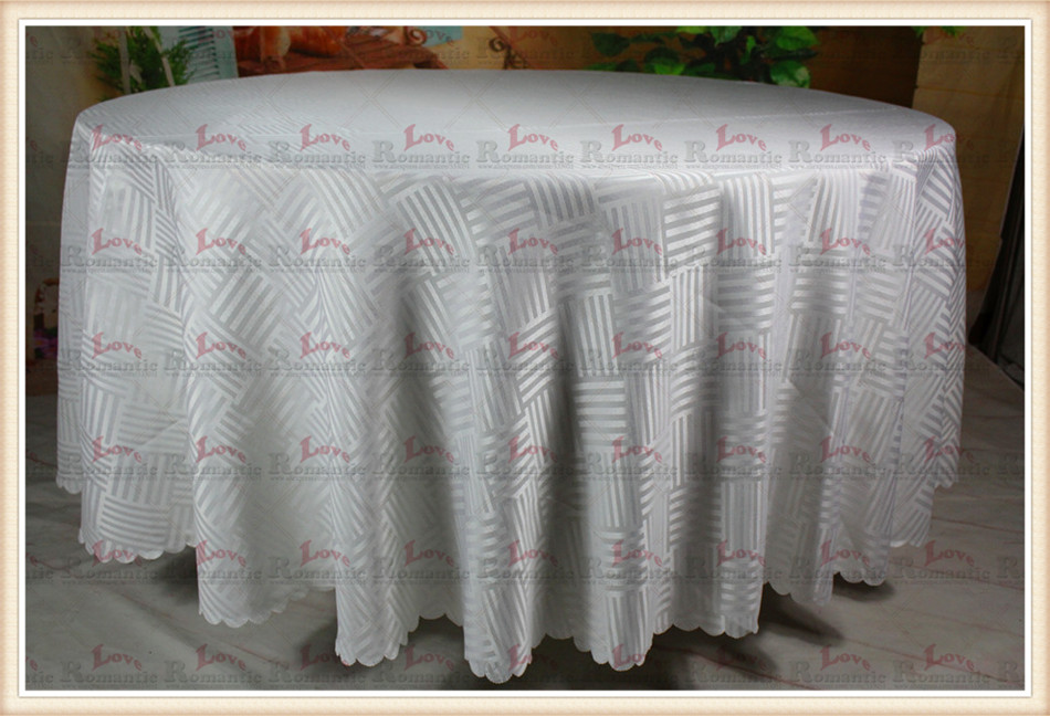 White Stripe Jacquard Tablecloth/Table Cover For Wedding Party Hotel Banquet Home Decorations(Chair covers&Sashes)(China (Mainland))