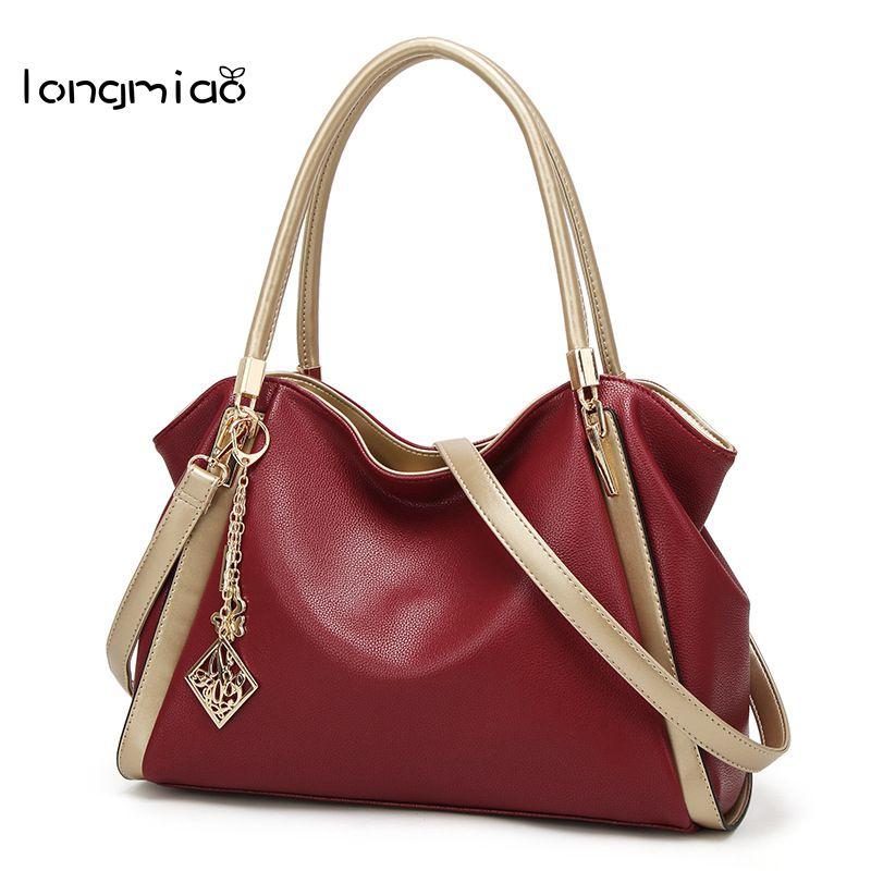 longmiao Casual Tote Women Shoulder Bags PU Leather Women Bags Designer Brand Female Handbags Hobo Crossbody Bags Sac(China (Mainland))