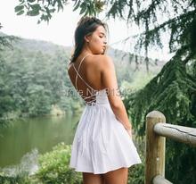 Elina's shop New 2016 women  american apparel straps cross backless Deep V-neck cute spaghetti dress s m l blue striped dresses (China (Mainland))