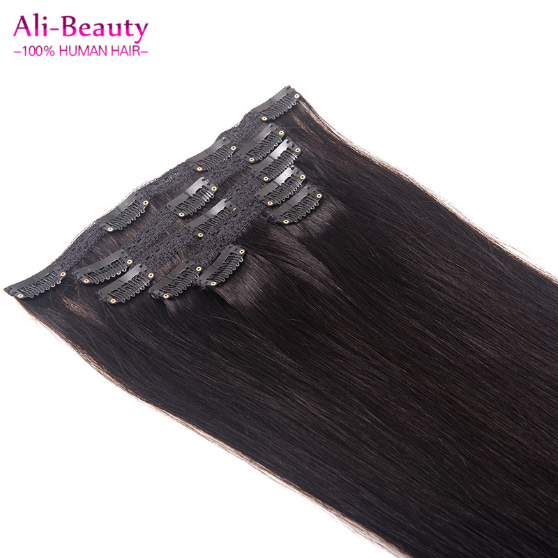 Brazilian Virgin Hair 6pcs Set Clip In Real Human Hair Extention Clip On Cabelo Humano Tic Tac Hair Ali Beauty Hair Aplique