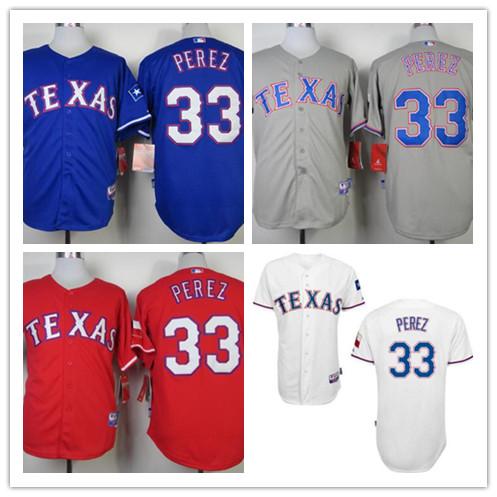100% top stitched mens Texas Rangers Perez jersey,new baseball #33 Martin Perez Rangers red/gray/ white/royal blue jerseys(China (Mainland))
