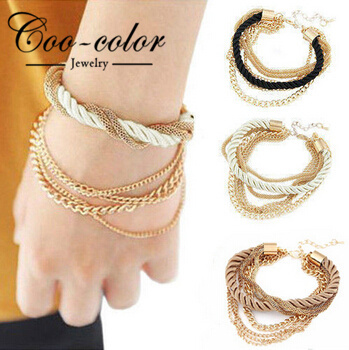New fashion Europe low-key costly handmade gold chain braided rope multilayer bracelet chain bracelet(China (Mainland))