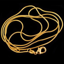 """Wholesale 10pcs/lot ,Fashion 18K Gold Plated Necklace Chains,1.2mm Snake Chain Necklace 16""""-30"""",Pick Length(China (Mainland))"""