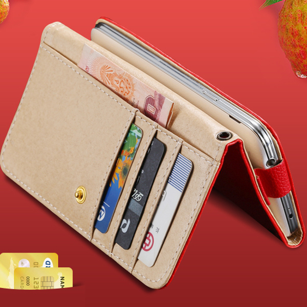 Universal Leather General Use Handbag Case For Samsung Galaxy S2 S3 S4 Note Wallet Pouch Lychee Grain Card Slot Cover 5S 4S 5C(China (Mainland))