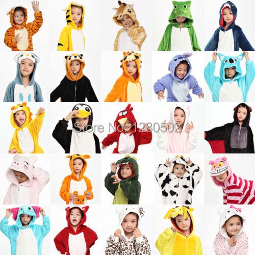 Freies Schiff Kinder Kid Unisex Pyjamas Cosplay Tier Onesie Nachtwäsche Penguin Coon Lion Dog Koala Einhorn-Stich Kaninchen(China (Mainland))