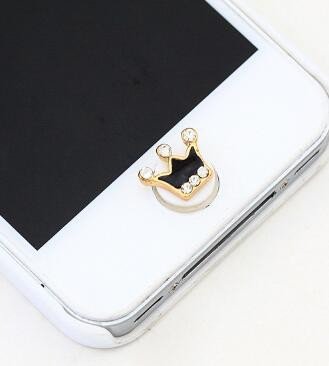 Free Shipping 12 pcs Popular Imperial Crown Diamond Home Button Stickers For iPhone iPad DIY Cell Phone Decoration D76(China (Mainland))