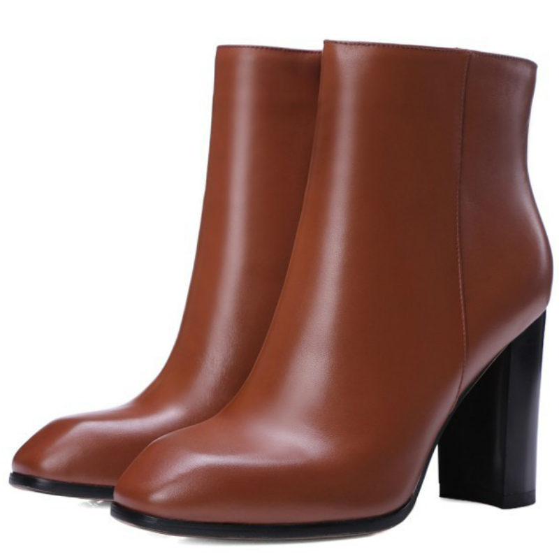 2016 Autumn winter women genuine full grain leather thick high heels ankle boots shoes lady 24.5cm plus size fashion short boot(China (Mainland))