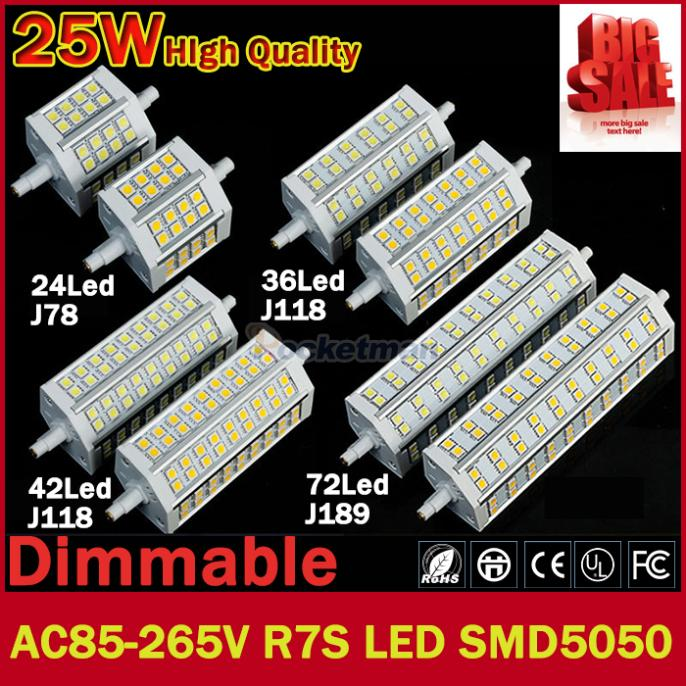1pcs/lot R7S LED 12W|78mm 15W|118mm 20W|118mm 25W|189mm J118 J78 J189 LED R7S dimmable SMD5050 corn bulb Halogen Floodlight(China (Mainland))