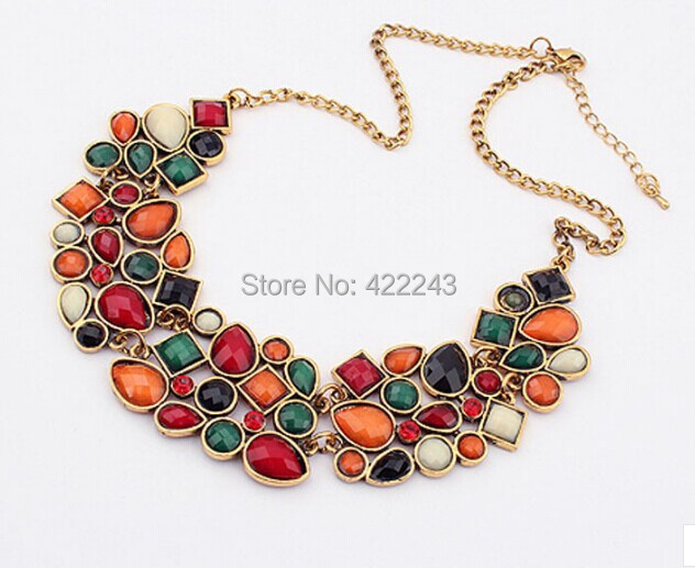 Free Shipping Splendid Womens Bib Statement Necklace Luxury Colorful Rhinestone Geometric Chunky Necklace Jewelry(China (Mainland))
