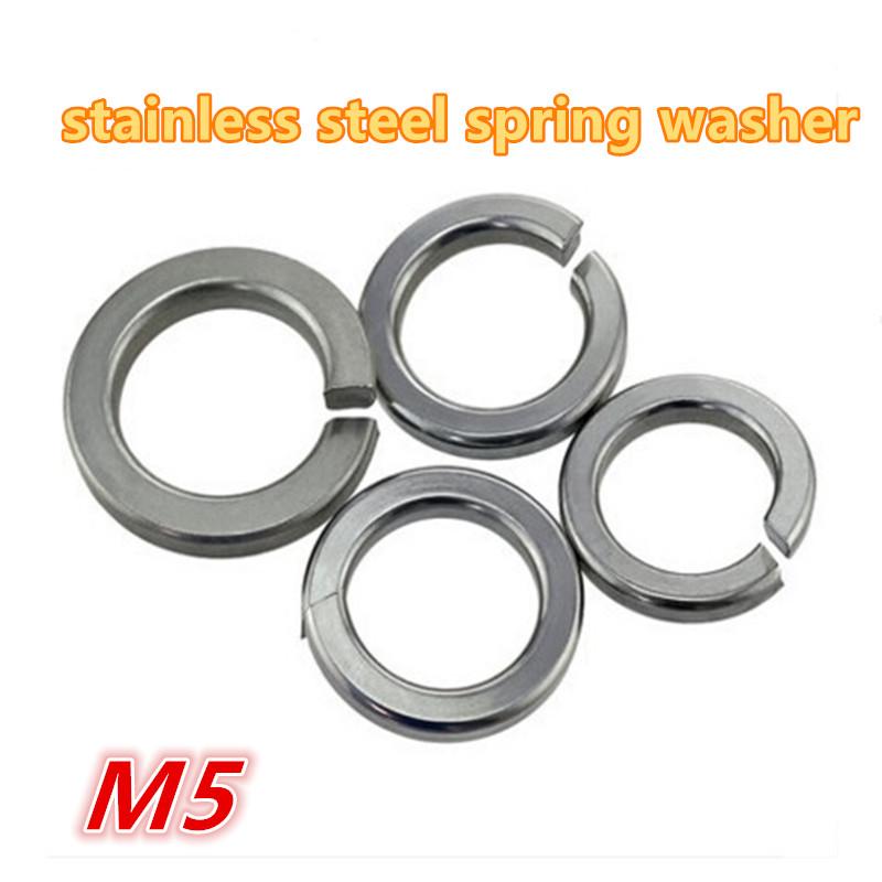500pcs m5 304 stainless steel a2 - 70 spring washer / gasket split lock washer / shim elastic washer(China (Mainland))