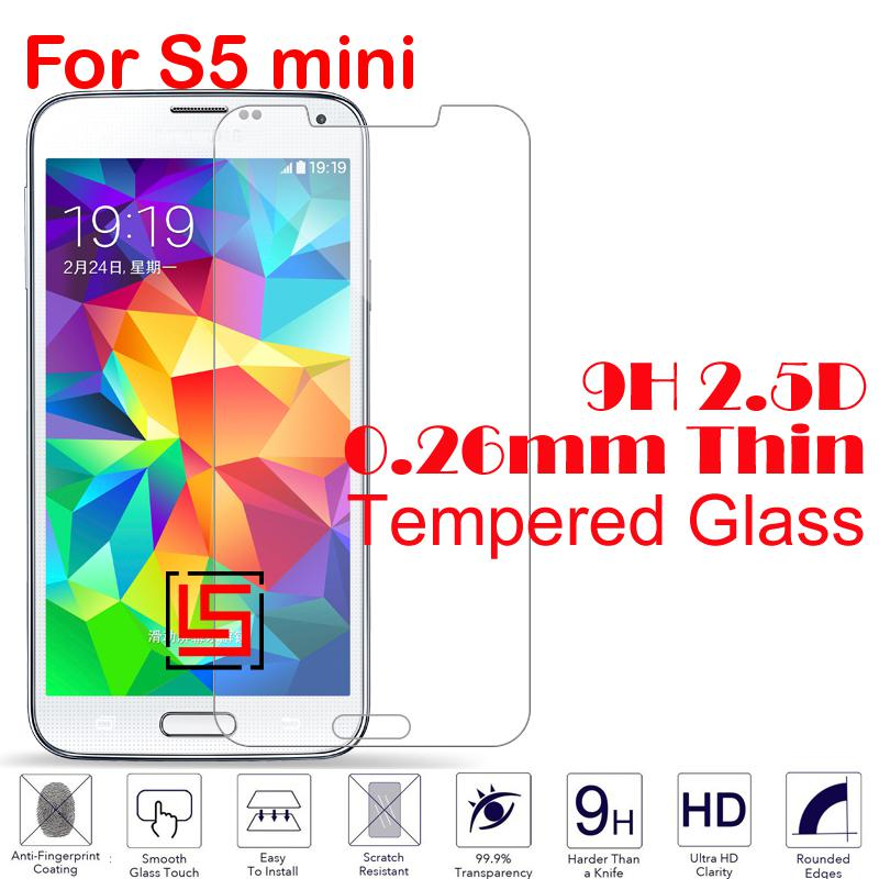 Anti-Scratch 0.26mm 2.5D 9H Tempered Glass Cristal Phone Front Film Screen Protector For Samsung Sumsung Samsuns Galaxy S5 mini(China (Mainland))