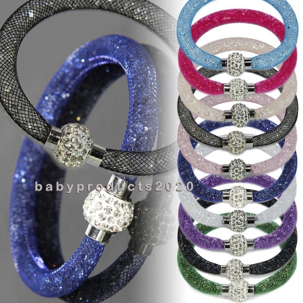 Unisex Punk Bangle Shamballa Tube Wrap Shiny Magnetic Clasp Mesh Bracelet Free shipping(China (Mainland))